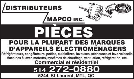 DISTRIBUTEURS Mapco Inc - 5244 St Laurent, Montréal, QC