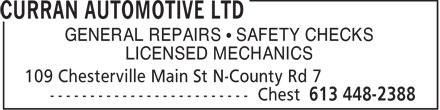Curran Automotive Ltd (613-448-2388) - Annonce illustrée======= - GENERAL REPAIRS   SAFETY CHECKS LICENSED MECHANICS