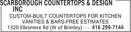 Scarborough Countertops & Design Inc (416-299-7144) - Annonce illustrée======= - CUSTOM-BUILT COUNTERTOPS FOR KITCHEN VANITIES & BARS-FREE ESTIMATES  CUSTOM-BUILT COUNTERTOPS FOR KITCHEN VANITIES & BARS-FREE ESTIMATES  CUSTOM-BUILT COUNTERTOPS FOR KITCHEN VANITIES & BARS-FREE ESTIMATES