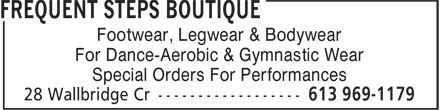 Frequent Steps Boutique (613-969-1179) - Display Ad - Footwear, Legwear & Bodywear For Dance-Aerobic & Gymnastic Wear Special Orders For Performances