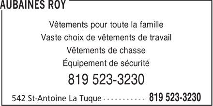 Aubaines Roy (819-523-3230) - Annonce illustrée======= - Vêtements pour toute la famille Vaste choix de vêtements de travail Vêtements de chasse Équipement de sécurité 819 523-3230