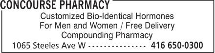 Concourse Pharmacy (416-650-0300) - Annonce illustrée======= -