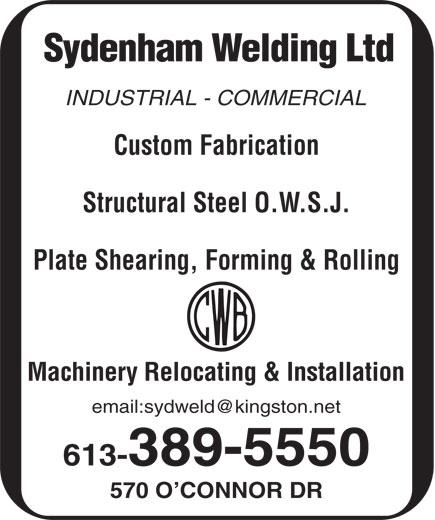 Sydenham Welding Ltd (613-389-5550) - Annonce illustrée======= -