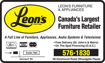 Leon's Furniture & Appliances (709-576-1830) - Display Ad -