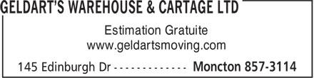 Geldart's Warehouse & Cartage (506-857-3114) - Annonce illustrée======= - Estimation Gratuite www.geldartsmoving.com