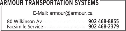 Armour Transportation Systems (902-468-8855) - Display Ad - E-Mail: armour@armour.ca