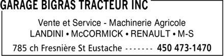 Garage Bigras Tracteur Inc (450-473-1470) - Annonce illustrée======= - Vente et Service Machinerie Agricole LANDINI ¿ McCORMICK ¿ RENAULT ¿ M-S