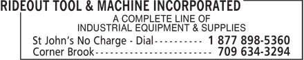 Rideout Tool & Machine (709-754-2240) - Display Ad - A COMPLETE LINE OF INDUSTRIAL EQUIPMENT & SUPPLIES