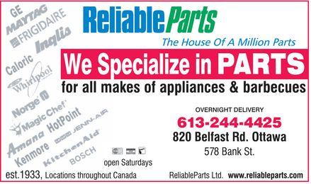 Reliable Parts Ltd (613-244-4425) - Annonce illustrée======= -