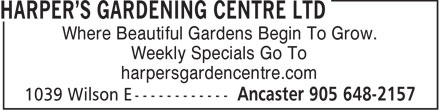 Harper's Gardening Centre Ltd (905-648-2157) - Display Ad - Where Beautiful Gardens Begin To Grow. Weekly Specials Go To harpersgardencentre.com Weekly Specials Go To harpersgardencentre.com Where Beautiful Gardens Begin To Grow.