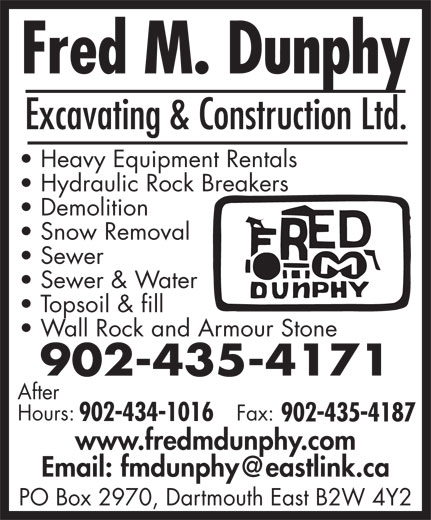 Dunphy Fred M Excavating And Construction Ltd (902-435-4171) - Display Ad -