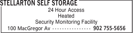Stellarton Self Storage (902-755-5656) - Annonce illustrée======= - Heated 24 Hour Access Security Monitoring Facility