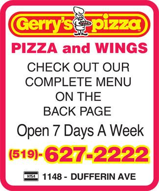 Gerry's Pizza (519-627-2222) - Annonce illustrée======= -