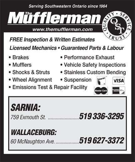 The Mufflerman (519-336-3295) - Display Ad -