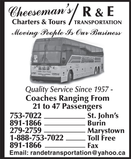 R & E Transportation (709-753-7022) - Display Ad -