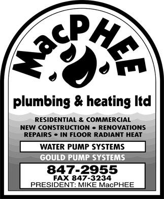 MacPhee Plumbing & Heating Ltd (506-847-2955) - Display Ad -