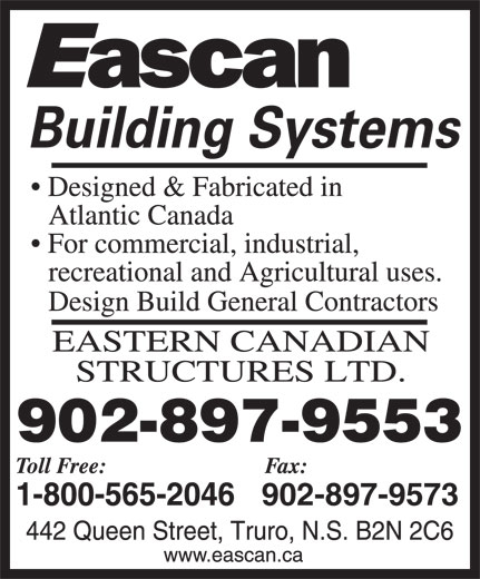 Eascan Building Systems (1-800-565-2046) - Display Ad - 902-897-9573 902-897-9553