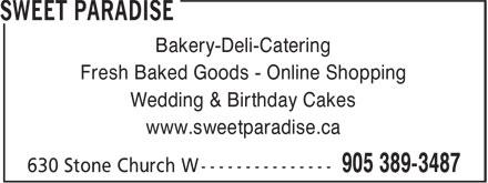 Sweet Paradise (905-389-3487) - Display Ad - Bakery-Deli-Catering Fresh Baked Goods - Online Shopping Wedding & Birthday Cakes www.sweetparadise.ca