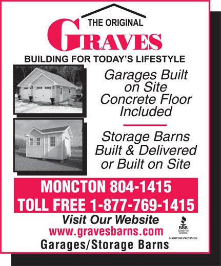 Graves Barns & Buildings Ltd (506-855-8550) - Display Ad - MONCTON 804-1415 TOLL FREE 1-877-769-1415