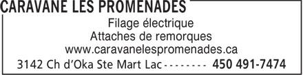 Caravane Les Promenades (450-491-7474) - Annonce illustrée======= - Filage lectrique Attaches de remorques www.caravanelespromenades.ca
