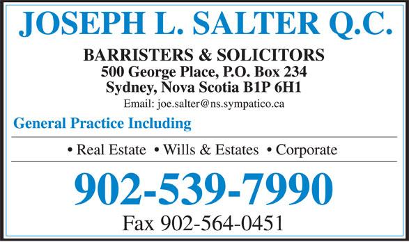 Salter Joseph L QC (902-539-7990) - Display Ad - 902-539-7990 Fax 902-564-0451