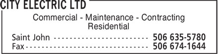City Electric Ltd (506-635-5780) - Display Ad -