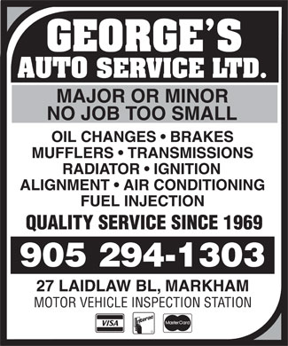 Georges Auto Service 27 Laidlaw Blvd Markham On