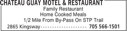 Chateau Guay Motel Restaurant (705-566-1501) - Annonce illustrée======= -