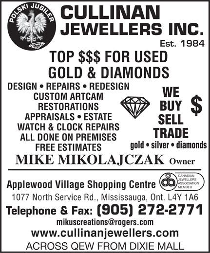 Cullinan Jewellers Inc (905-272-2771) - Display Ad -