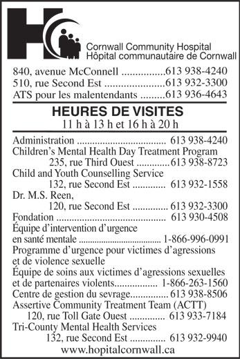 Cornwall Community Hospital / Hôpital Communautaire de Cornwall (613-938-4240) - Annonce illustrée======= -