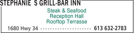 Stephanie's Grill-Bar Inn (613-632-2783) - Annonce illustrée======= - Steak & Seafood Reception Hall Rooftop Terrasse