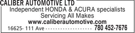 Caliber Automotive Ltd (780-452-7676) - Annonce illustrée======= - Independent HONDA & ACURA specialists Servicing All Makes www.caliberautomotive.com  Independent HONDA & ACURA specialists Servicing All Makes www.caliberautomotive.com