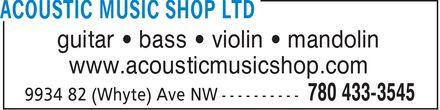 Acoustic Music Shop (780-433-3545) - Annonce illustrée======= - guitar ¿ bass ¿ violin ¿ mandolin www.acousticmusicshop.com guitar ¿ bass ¿ violin ¿ mandolin www.acousticmusicshop.com