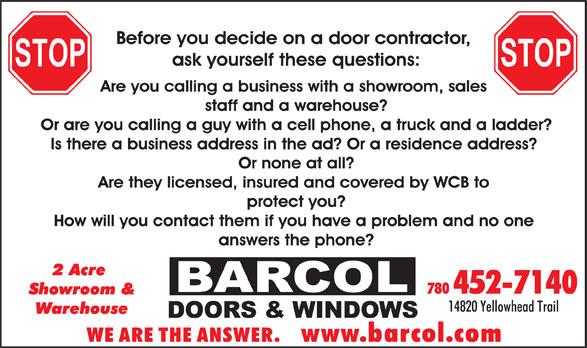 Barcol Doors & Windows (780-452-7140) - Display Ad -