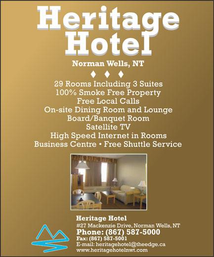 Heritage Hotel (867-587-5000) - Annonce illustrée======= -