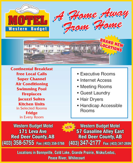Western Budget Motel 1 (403-358-5755) - Annonce illustrée======= - BRAND NEW LOCATIONS 57 Gasoline Alley East171 Leva Ave Red Deer County, ABRed Deer County, AB