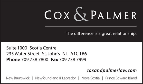 Cox & Palmer (709-738-7800) - Display Ad -