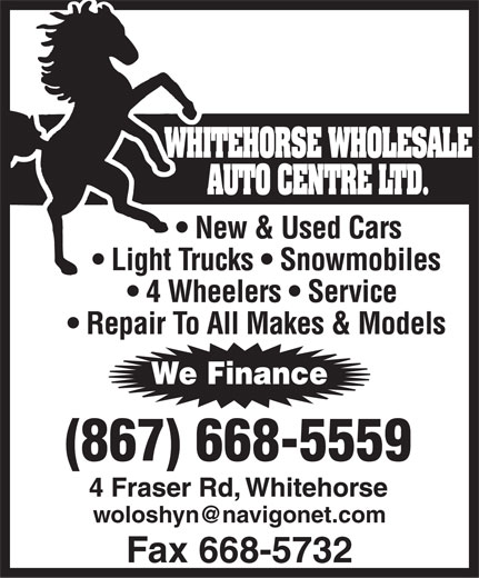 Whitehorse Wholesale Auto Centre Ltd (867-668-5559) - Annonce illustrée======= -