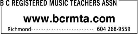 BC Registered Music Teachers Assn (604-268-9559) - Annonce illustrée======= - www.bcrmta.com