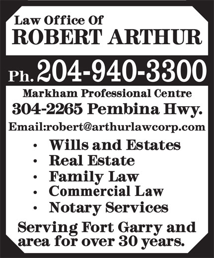 Arthur Robert Law Office (204-940-3300) - Annonce illustrée======= - 204-940-3300