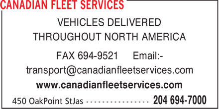 Canadian Fleet Services (204-694-7000) - Display Ad -