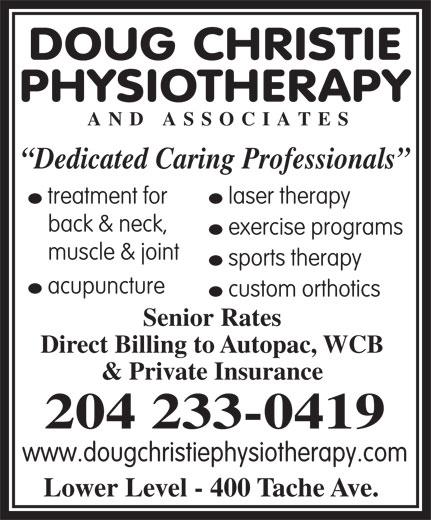 Doug Christie Physiotherapy & Associates (204-233-0419) - Annonce illustrée======= -