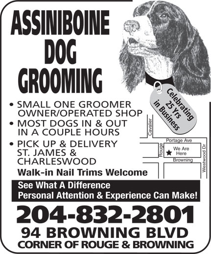 Assiniboine Dog Grooming (204-832-2801) - Display Ad - Personal Attention & Experience Can Make! 204-832-2801 94 BROWNING BLVD CORNER OF ROUGE & BROWNING ASSINIBOINE DOG Celebrating GROOMING 25 Yrsin Business SMALL ONE GROOMER OWNER/OPERATED SHOP MOST DOGS IN & OUT IN A COUPLE HOURS Cavalier Portage Ave Rouge PICK UP & DELIVERY We Are Here ST. JAMES & CHARLESWOOD Westwood Dr Browning Walk-in Nail Trims Welcome See What A Difference Personal Attention & Experience Can Make! 204-832-2801 94 BROWNING BLVD CORNER OF ROUGE & BROWNING ASSINIBOINE DOG Celebrating GROOMING 25 Yrsin Business ASSINIBOINE DOG Celebrating GROOMING SMALL ONE GROOMER OWNER/OPERATED SHOP MOST DOGS IN & OUT IN A COUPLE HOURS Cavalier Portage Ave Rouge PICK UP & DELIVERY We Are Here ST. JAMES & CHARLESWOOD Westwood Dr Browning Walk-in Nail Trims Welcome See What A Difference Personal Attention & Experience Can Make! 204-832-2801 94 BROWNING BLVD CORNER OF ROUGE & BROWNING SMALL ONE GROOMER OWNER/OPERATED SHOP MOST DOGS IN & OUT IN A COUPLE HOURS Cavalier Portage Ave Rouge PICK UP & DELIVERY We Are Here ST. JAMES & CHARLESWOOD Westwood Dr Browning Walk-in Nail Trims Welcome See What A Difference Personal Attention & Experience Can Make! 204-832-2801 94 BROWNING BLVD CORNER OF ROUGE & BROWNING ASSINIBOINE DOG Celebrating GROOMING 25 Yrsin Business SMALL ONE GROOMER OWNER/OPERATED SHOP 25 Yrsin Business MOST DOGS IN & OUT IN A COUPLE HOURS Cavalier Portage Ave Rouge PICK UP & DELIVERY We Are Here ST. JAMES & CHARLESWOOD Westwood Dr Browning Walk-in Nail Trims Welcome See What A Difference