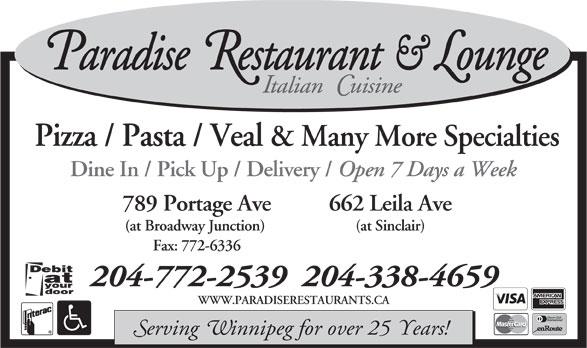 Paradise Restaurant (204-338-4659) - Annonce illustrée======= -