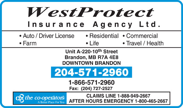 Westprotect Insurance Agency Ltd (204-571-2960) - Display Ad -