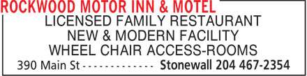 Rockwood Motor Inn & Motel (204-467-2354) - Display Ad - LICENSED FAMILY RESTAURANT NEW & MODERN FACILITY WHEEL CHAIR ACCESS-ROOMS LICENSED FAMILY RESTAURANT NEW & MODERN FACILITY WHEEL CHAIR ACCESS-ROOMS