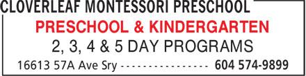 Cloverleaf Montessori Preschool (604-574-9899) - Annonce illustrée======= - PRESCHOOL & KINDERGARTEN 2, 3, 4 & 5 DAY PROGRAMS