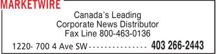 Marketwire (403-266-2443) - Display Ad - Fax Line 800-463-0136 Canada's Leading Corporate News Distributor Fax Line 800-463-0136 Canada's Leading Corporate News Distributor