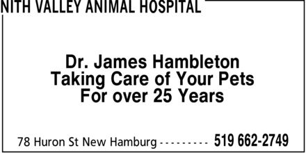 Nith Valley Animal Hospital (519-662-2749) - Display Ad - Dr. James Hambleton Taking Care of Your Pets For over 25 Years