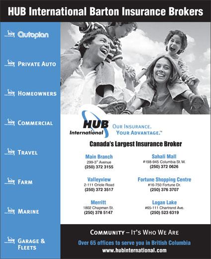 HUB International Barton Insurance Brokers (250-372-3155) - Annonce illustrée======= -